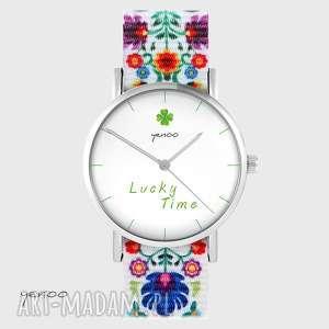 zegarek - lucky time folk biały, nato, zegarek, bransoletka, koniczynka