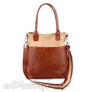 incat fiella - duża torba piasek i kasztan, shopper, wygodna, praktyczna, elegancka