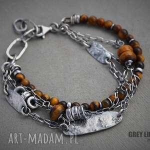 unikalne prezenty, tygrysie oko bransoletka, srebro, 925, tygrysie, oko, surowa