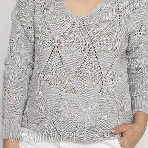 swetry ażurowy szary sweter, swe231 mkm, sweter damski, sweterek