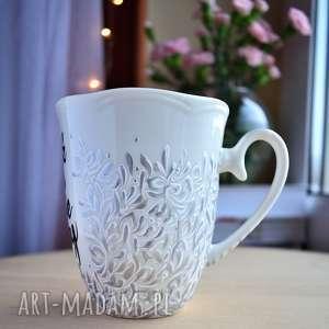 ręcznie robione kubki kubek ręcznie malowany bądź dla siebie dobry srebrny
