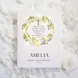 Prezent PAMIĄTKA CHRZTU obraz LED złoty krzyż liście kwiaty styl rustykalny prezent