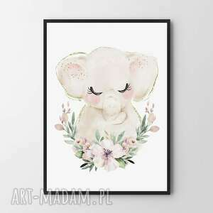 plakat obraz słonik 40x50 cm, pokoik dziecka, pokój dziecięcy
