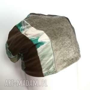 czapka damska patchworkowa - czapka, damska, etno, boho, patchwork, kolorowa