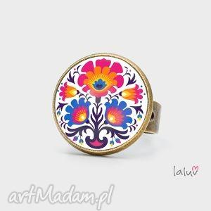 Pierścionek folklor laluv ludowy, folk, kolorowy, kwiaty