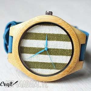 drewniany zegarek z bambusa tkaniną na tarczy, zegarek, drewniany, tkanina