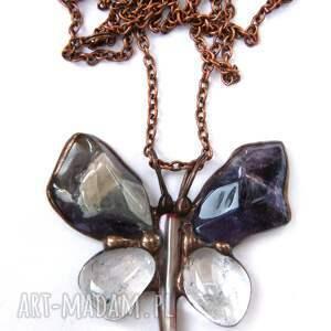 Naszyjnik: Motyl z surowym ametystem, wisiorek-z-łańcuchem, motyw-motyla