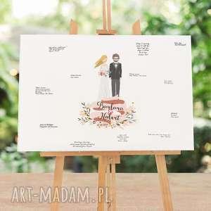 handmade księgi gości obraz ala księga gości z wizerunkiem pary młodej -50x70 cm