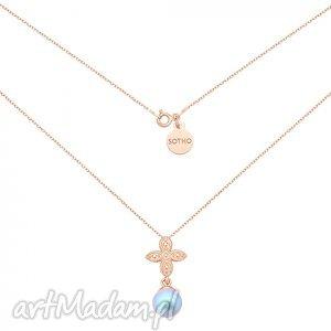 ręcznie wykonane naszyjniki naszyjnik z różowego złota z rozetką i niebieską perłą swarovski® crystal