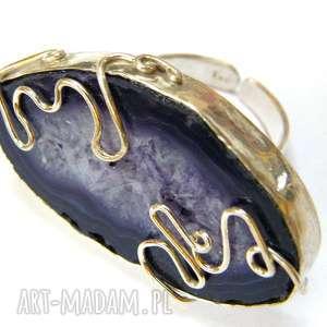 pierścionek fioletowy agat, srebro, regulowany, duży, okazały