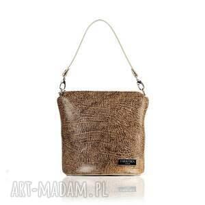 Skórzana torebka 078 Taszka Touch Brązowo Kremowa, elegancka, skórzana, listonoszka