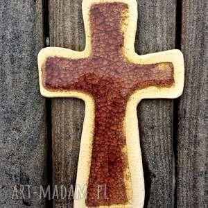 Krzyżyk na ścianę ceramika i szkło 13, krzyż, krzyżyk, fusing, ceramika, szamot
