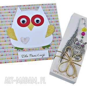 życzenia dla nauczyciela - zestaw prezentowy, kartka, zakładka, prezentowy