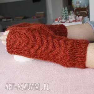 ręcznie zrobione rękawiczki miedziane mitenki