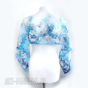 hand-made chustki i apaszki dla ewy szal jedwabny crepe de chine niebieski z kwiatami