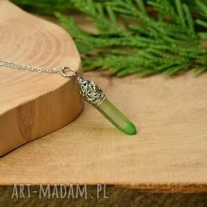 wisiorek talizman surowy zielony kryształ górski wire wrapping stal chirurgiczna