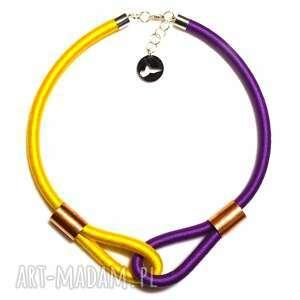 Multicolor /purple & yellow/, etniczny, dwukolorowy, naszyjnik, nowoczesny