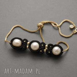 bransoletka sutasz z perłami, sznurek, elegancka, delikatna, wieczorowa