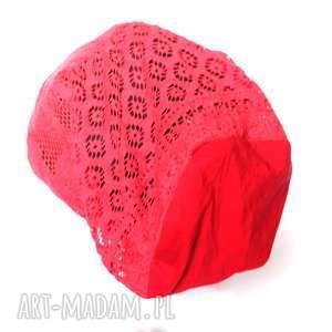 czapki czapka damska koronkowa czerwona, czapka, koronka, boho, etno, prezent