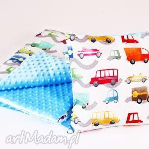 zestaw przedszkolaka autka błękitny, kocyk, poduszka, autka, przedszkole pokoik