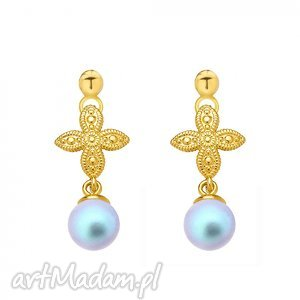złote kolczyki z rozetką i niebieską perłą swarovski®