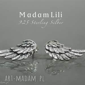 925 srebrne kolczyki skrzydła anioła, skrzydła, biżuteria