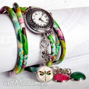 zegarki zegarek cudowna wiosna, modny, zegarek, zielony, kolorowy, zawieszkami