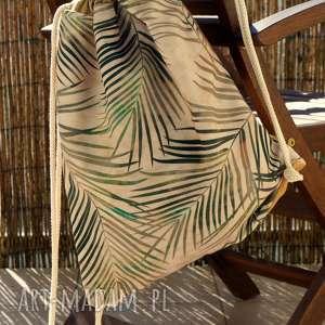 wyjątkowy prezent, plecak - worek, plecak, palmy, botaniczny, modny, prezent