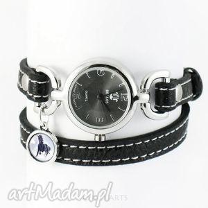 ręcznie wykonane zegarek, bransoletka - czarny koń