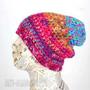 Ciepła kolorowa czapka z włóczki 063 czapki godeco czapka