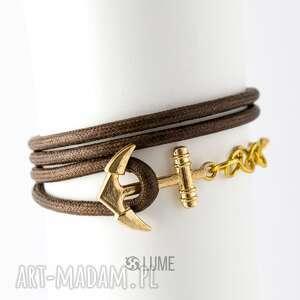 bransoletka marynarska kotwica brązowa złota, bransoletka, wygodna