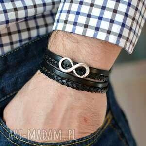 męska bransoletka skórzana magnetoos double infinity czarna