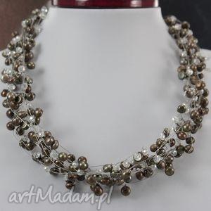 brązowe perły w oplocie - naszyjnik - perły, naturalne, kryształki