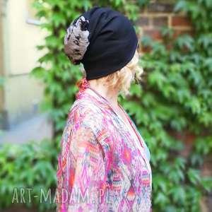 czapka smerfetka długa wzory czarna, rower, dzianina, smerfetka, czapka, długa, etno