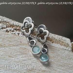 Prywatne oczka wodne kolczyki z amazonitu i srebra szarotka