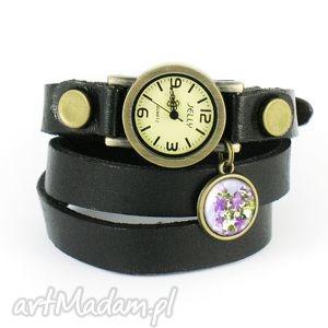 bransoletka, zegarek - fioletowy kwiat czarny, skórzany