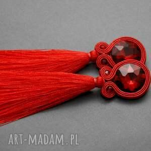 handmade klipsy czerwone sutasz z chwostami