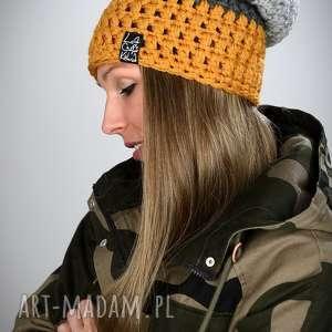 czapka triquence 15 - musztardowa, czapka, smerfetka, czapa, kolorowa