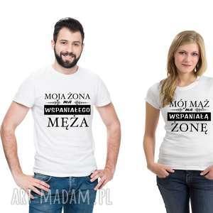 Koszulka dla Par Mój mąż ma wspaniałą żonę, Moja żona wspaniałego męża , dlanie