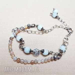 bransoletka ze srebra i akwamarynu, srebro, z kamieniami, delikatna biżuteria