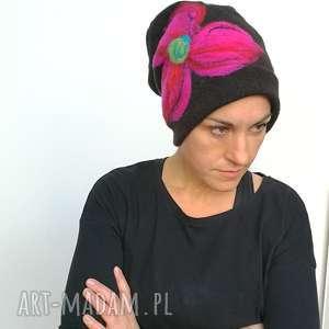 ręcznie zrobione czapki czapka wełniana damska etno boho filc -box l1-czapka handmade