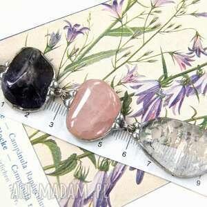 naszyjniki secesyjny wisiorek chwost z łańcuszkiem fioletowym ametystem