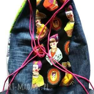duży plecak worek wakacje podróz frida kahlo, plecak, torba, etno, rolki, boho