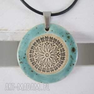 naszyjnik blue ethno - ceramiczny naszyjnik, z ceramiki, turkusowy, etniczny naszyjnik