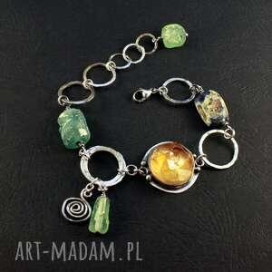 cytryn i tajemnica czasu, srebrna bransoletka, szkło antyczne, cytryn, surowy
