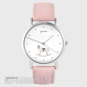 ręcznie zrobione zegarki zegarek - konik na biegunach skórzany, pudrowy
