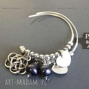 SREBRO, kolczyki naturalne czarne perły, srebro, zawieszki, koła