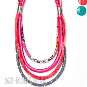 różowy naszyjnik z tkaniny, kolorowy naszyjnik na lato - naszyjnik, tkanina