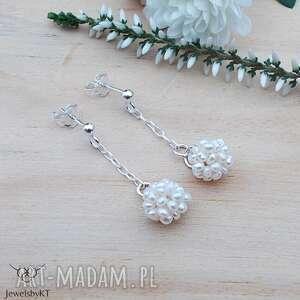 perłowe kulki - kolczyki, srebrna biżuteria, srebrne kolczyki