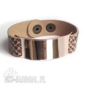 handmade bransoletka skórzana badge simple wężowa brąz